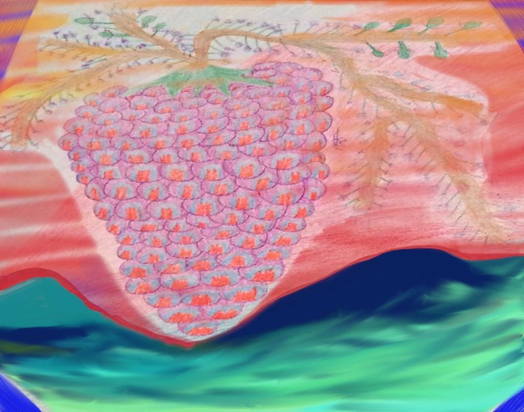 Fruit of the Vine 4 Crayon&Digital: 14 x 11: ARS