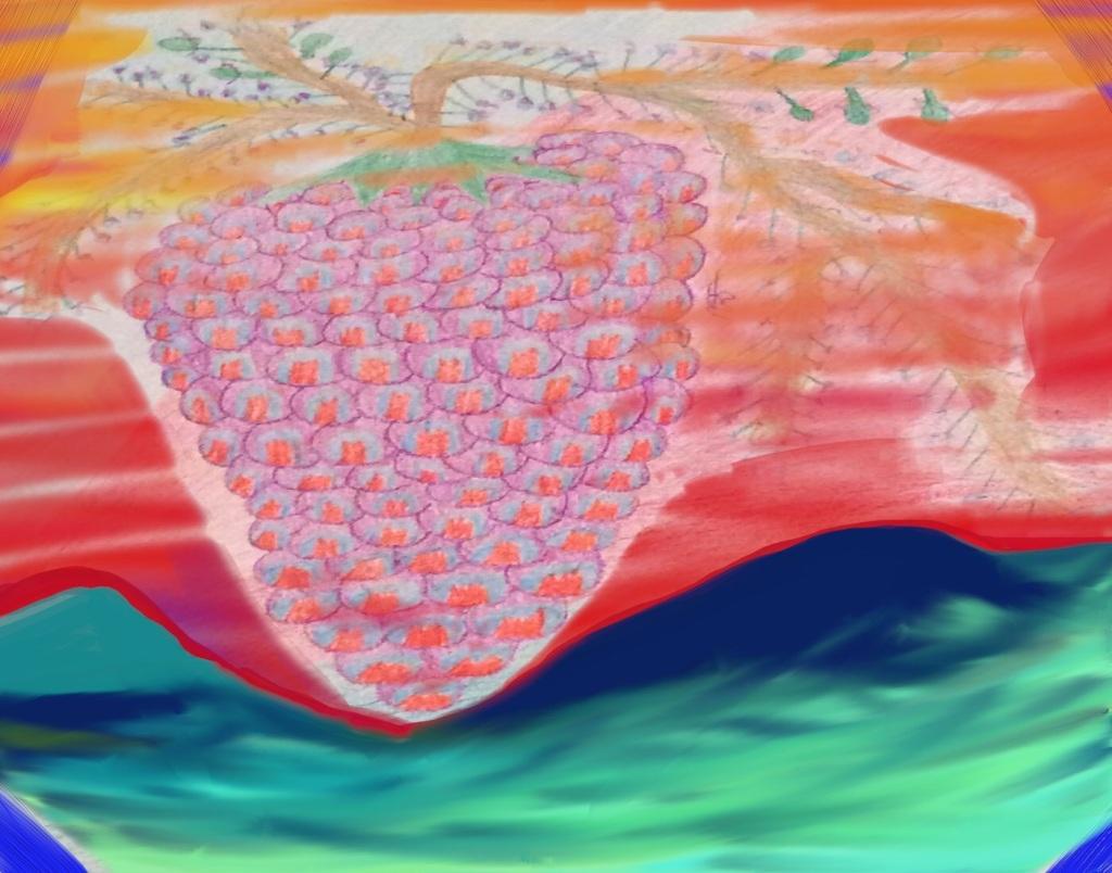 Fruit of the Vine 6 Crayon&Digital: 14 x 11: ARS