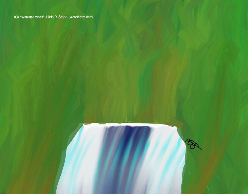 Waterfall Vines Digital: 14x11: ARS